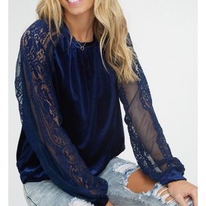 Navy Velvet top with lace sleeves